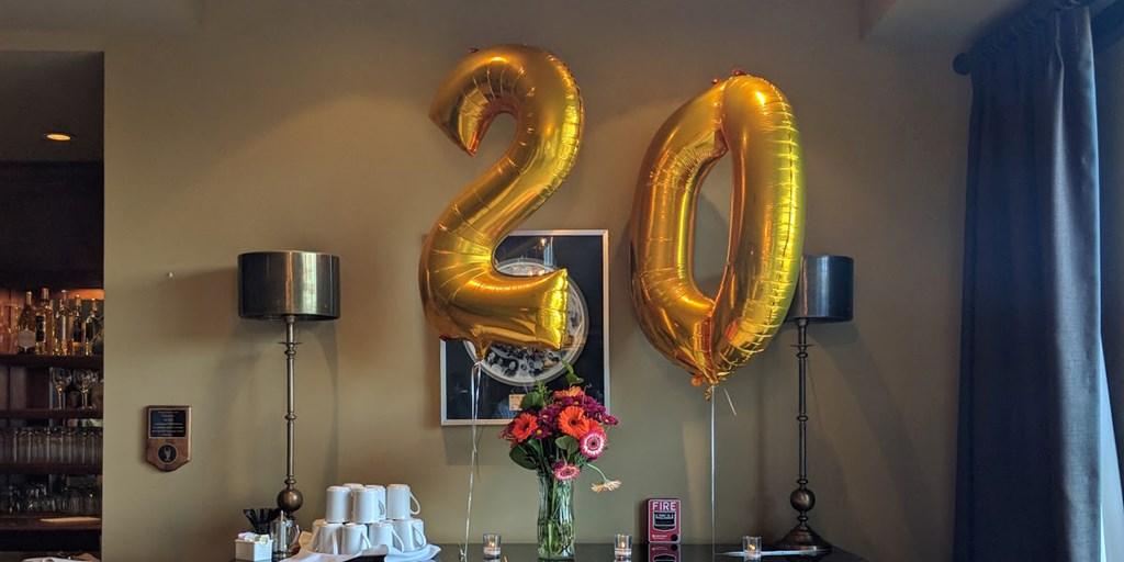 I-ology 20 year celebration balloons